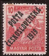 "Checoslovaquia - Fx. 3436 - Yv. 100 - Sobrecarga ""PÓSTA CESKOSLOVENSKA 1919"" S/ 10 H. Rojo Hungria - (*) - Cecoslovacchia"