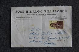 Timbre Sur Lettre Publicitaire - GUADALAJARA , José HIDALGO, Articulos De Tejidos Et Ferreteria - Spagna