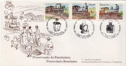 Brazil Set On FDC - Trains