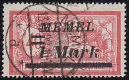 Memel 64 Aufdruck 1 Mark Auf 40 C 1922, Gestempelt Geprüft - Memelgebiet