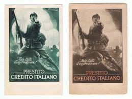 PRESTITO  CREDITO  ITALIANO:  FATE  TUTTI  IL  VOSTRO  DOVERE  -  2  VARIANTI  -  ILLUSTRATORE  L. A. MAUZAN  -  FP - Banche