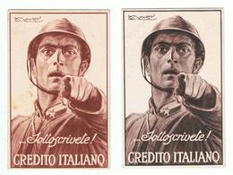 CREDITO  ITALIANO:  SOTTOSCRIVETE !  -  ILLUSTRATORE  L.A. MAUZAN  -  2  VARIANTI  -  FP - Banche