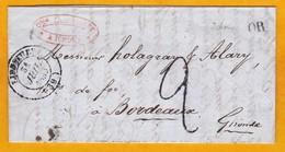 1849 - LAC D'Ichoux, Landes Vers Bordeaux, Gironde - OR Origine Rurale - Cad Départ Liposthey - Taxe 2 - Cad Arrivée - Marcophilie (Lettres)
