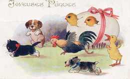 JOYEUSES PAQUES - Coq, Chien, Canard, Poussins, Courant Après Un Chat Noir - Cats