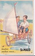 """Carte 1950 à Dépliant ,à Système 10 Vues,"""" à Toutes Voiles Vers St Malo"""" (char à Voile) - Saint Malo"""