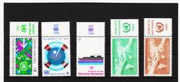 SRO287 UNO WIEN 1983 MICHL 29/33  MIT TABS (RANDZIERFELDER) **  POSTFRISCH - Centre International De Vienne