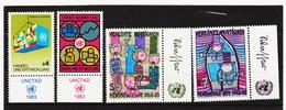 SRO288 UNO WIEN 1983 MICHL 34/37  MIT TABS (RANDZIERFELDER) **  POSTFRISCH - Centre International De Vienne