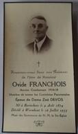 Bavinchove - Worhmout - Wemaers Cappel : Image Mortuaire FRANCHOIS Ovide (X DEVOS Zoé) - Décès