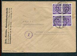 All.Besetzung / 1946 / Mi. 916 4er-Block A. Fernbrief Stralsund-Berlin (12061) - Gemeinschaftsausgaben
