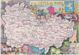 22 COTES DU NORD CARTE GEOGRAPHIQUE BLONDEL LA ROUGERY ( Guingamp Beurre Dinan Treguier Du Guesclin ...) - Non Classés
