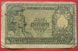 50 Lire 1951 (WPM 91a) - [ 2] 1946-… : Républic