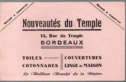 Bordeaux (33 Gironde) Buvard NOUIVEAUTES DU TEMPLE (linge, Toiles) (PPP10546) - Textile & Clothing