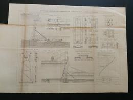 ANNALES PONTS Et CHAUSSEES (France) - Plan D'ouvrages Mobiles Des Barrages - Gravé Par E.Pérot - 1883 (CLA61) - Máquinas