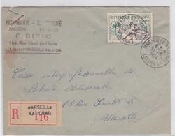 REC. MARSEILLE-NATIONAL / 21.5.1954 - Marcophilie (Lettres)