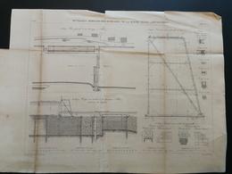 ANNALES PONTS Et CHAUSSEES (France) - Plan D'ouvrages Mobiles Des Barrages Déversoirs - Gravé Par E.Pérot - 1883 (CLA62) - Máquinas