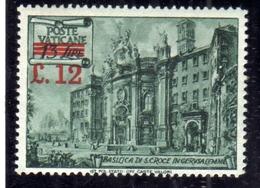VATICANO VATICAN VATIKAN 1952 BASILICHE SOPRASTAMPATO SURCHARGED L. 12 SU 13 LIRE MNH - Vatican