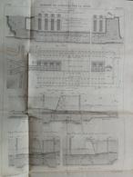 ANNALES PONTS Et CHAUSSEES (Dep 92 ) - Plan De Barrages De Surenes - Gravé Par Macquet - 1889 (CLA65) - Travaux Publics