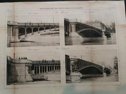 ANNALES PONTS Et CHAUSSEES (Dep 69) - Plan De Recontructions Des Ponts MORAND Et LAFAYETTE Gravé Dujardin - 1893 (CLA66) - Travaux Publics