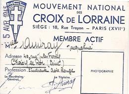 """Carte De Membre Du Mouvement """" CROIX De LORRATNE """" De 1946 - Old Paper"""
