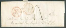 LAC De BRUGELETTE Le 10 Mars 1857 Vers Lille; Port De 4 Décimes. - 1830-1849 (Belgique Indépendante)