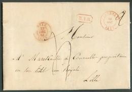 LAC De TOURNAY + Griffe B;1.R. Le 20 Décembre 1844 Vers Lille; Port De 4 Décimes. 13813 - 1830-1849 (Belgica Independiente)