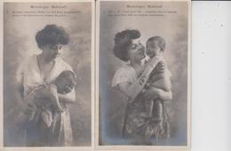 FANTAISIES  -  MONOLOGUE MATERNEL -  FEMME AVEC BEBE  -  SERIE DE 5 CARTES  - - Cartes Postales