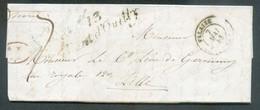 LAC De 13 PONT D'OUILLY (cursive) Via Càd Dc De FALAISE Le 7 Mai 1843 Vers Lille + Taxation De 7 Décimes (griffe Rouge 1 - 1801-1848: Precursori XIX