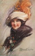 """""""Künstlerkarte, Neujahr, Frauen, Mode, Hutmode"""" 1911, Sig, C.H. Barber ♥  - 1900-1949"""