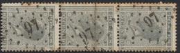 """émission 1865 - N°17 En Bande De 3 Obl Pt 97 """"Dison"""" - 1865-1866 Profil Gauche"""