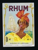 """étiquette Rhum  Vieux  Ets Maille  Steenvoorde   """"bateau, Femme Coiffe""""  Imp  Jean Guermonprez Lille - Rhum"""