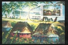 W. Et F. Carte Maximum Premier Jour Mata-Utu Le 23/11/1989 Le N°392 Art Local Peinture   Paysage Wallisien        TB - Covers & Documents