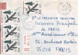 TP  N° 2387 En Bande De 13 Et 1 Ex  Sur Enveloppe En Recommandé De Le Peck - Marcophilie (Lettres)