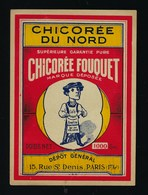 Ancienne Etiquette Chicorée Du Nord  Chicorée Fouquet  Poids Net 1000g  Dépôt Général Paris - Fruit En Groenten