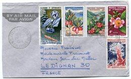 RC 12363 NOUVELLE CALEDONIE 1966 LETTRE POUR LA FRANCE FLEURS ESPACE AQUARIUM TB - Lettres & Documents