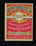 """Ancienne Etiquette Chicorée """"WD"""" Marcel Godard Fabricant à Awoingt Les Cambrai  """"pour Les Entrepôts Picards"""" - Fruits Et Légumes"""