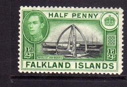 FALKLAND ISLANDS ISOLE 1938 CENTENNIAL MONUMENT Whale Jawbones KING GEORGE 1/2d  MNH - Falkland