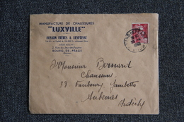 """Timbre Sur Enveloppe Publicitaire - BOURG DE PEAGE, Manufacture De Chaussures """" LUXVILLE"""" - France"""