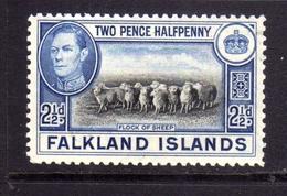 FALKLAND ISLANDS ISOLE 1938 FLOCK OF SHIP GREGGE DI PECORE KING GEORGE 2 1/2d  MNH - Falkland