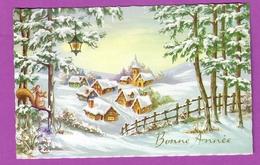 Carte Postale Bonne Année Effet Toilé - Paysage Hiver Village Avec Lanterne Et écureuil Squirrel   - Happy New Year - Autres