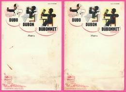 2 Menus Vierge - Illustrateur A. M CASSANDRE - Vin Liqueur Quinquina - DUBONNET - Pub Champagne MORLANT REIMS - Menu - Menú