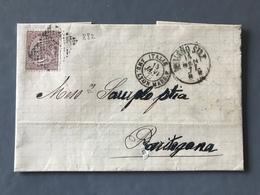 Italie, Lettre De Milano 1877 - Ambulant ITALIE AMB. LYON MARS. F - (W1224) - Poststempel