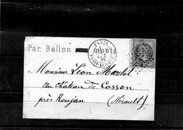 Ballon-Monté - N°9- Le Washington - Pour Cassan (Hérault)- Cachet De Douai Du 8 Oct. Arrivée 24 Oct. - Marcofilie (Brieven)