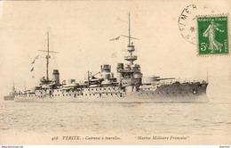 MARINE MILITAIRE FRANCAISE  VERITE Cuirassé à Tourelles - Warships