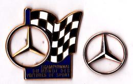 2 Pin's Automobile Mercedes-Benz Championnat Du Monde Des Voitures De Sport, + Sigle MB, Signés Arthus Bertrand - Mercedes