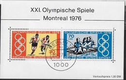 GERMANY -  GIOCHI OLIMPICI A MONTREAL -  FOGLIETTO USATO  -  (YVERT BF 11 -  MICHEL BL 12) - Estate 1976: Montreal