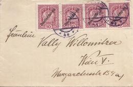 DEUTSCH-ÖSTERREICH 1919? - 4x10 H Auf Brief, Gel.Wien - 1918-1945 1. Republik