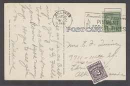 USA - Prexies. 1951 (22 Aug). Billings, Montana - Canada. 1c Fkd Card Taxed 2cts Canadian Pdue Slogan Cancel. - United States