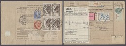 FRANCE - XX. 1932 (1 Sept). Colmar - Switzerland (3 Sept). Reg Package Muifkd Reverse Incl 5fr Block Of Four Fiscal Stam - France