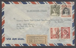 SIAM. 1952 (14 Jan). BKK -8 - USA (24 Jan). Reg Air Multifkd Env. V Nice. - Siam
