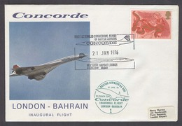 BAHRAIN. 1976 (21 Jan). Concorde Flight. London - Bahrain Inaugural Flight.same Day Arrival Cds On Black. - Bahreïn (1965-...)